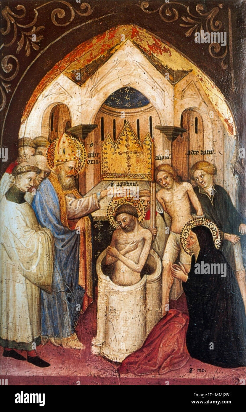 The Saint Augustine Baptized by Saint Ambrose.. between 1413 and 1415. 8  Nicolo di Pietro,1413-15. The Saint Augustine Baptized by Saint Ambrose.