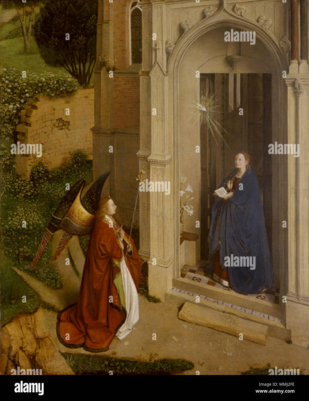 .  English: Painting by Petrus Christus  Working Title/Artist: The Annunciation Department: European Paintings Culture/Period/Location:  HB/TOA Date Code:  Working Date: 1450 photography by mma 1993, transparency front 4 8x10 scanned and retouched by film and media (jnc) 12 11 08 Anunciacion-Metropolitan - Stock Image