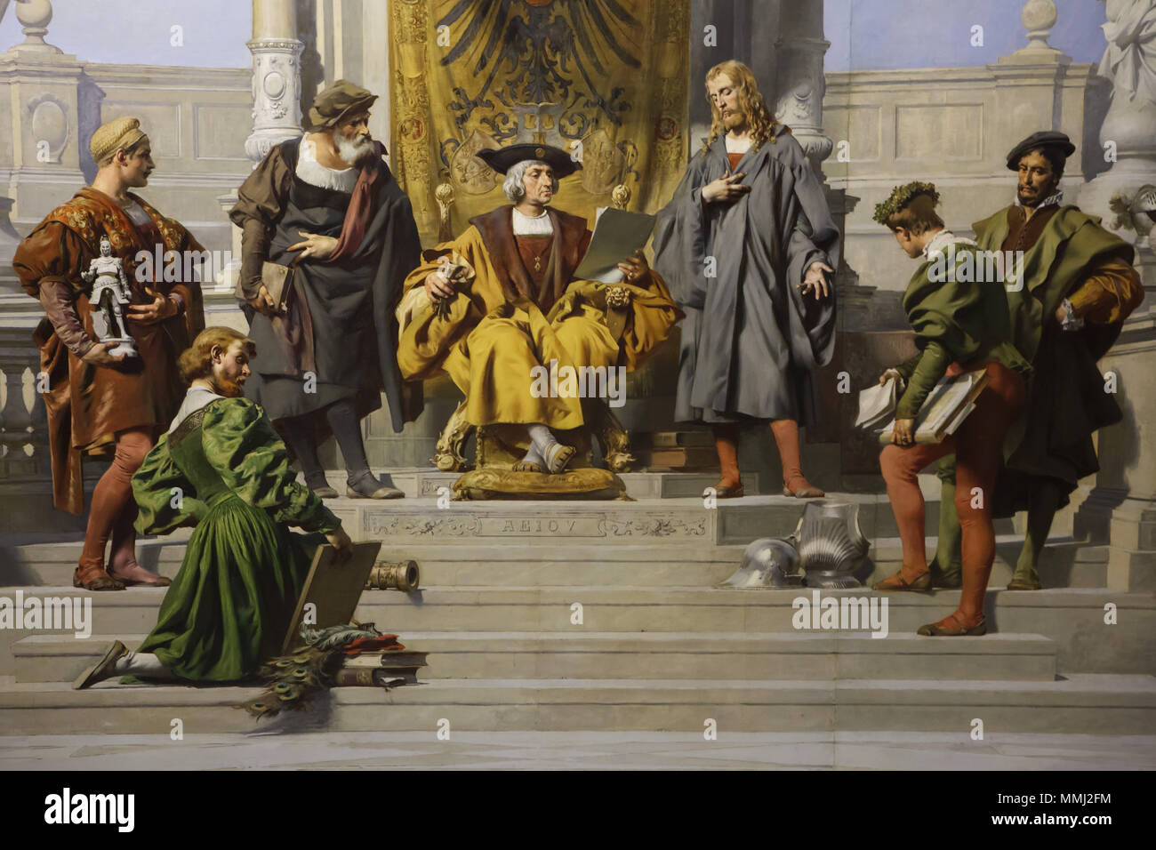 Albrecht Dürer and Holy Roman Emperor Maximilian I. Detail of the ceiling painting 'Patronage of the Arts by the House of Habsburg' by Austrian painter Julius Victor Berger in the Hall XIX of the Kunsthistorisches Museum (Museum of Art History) in Vienna, Austria. - Stock Image