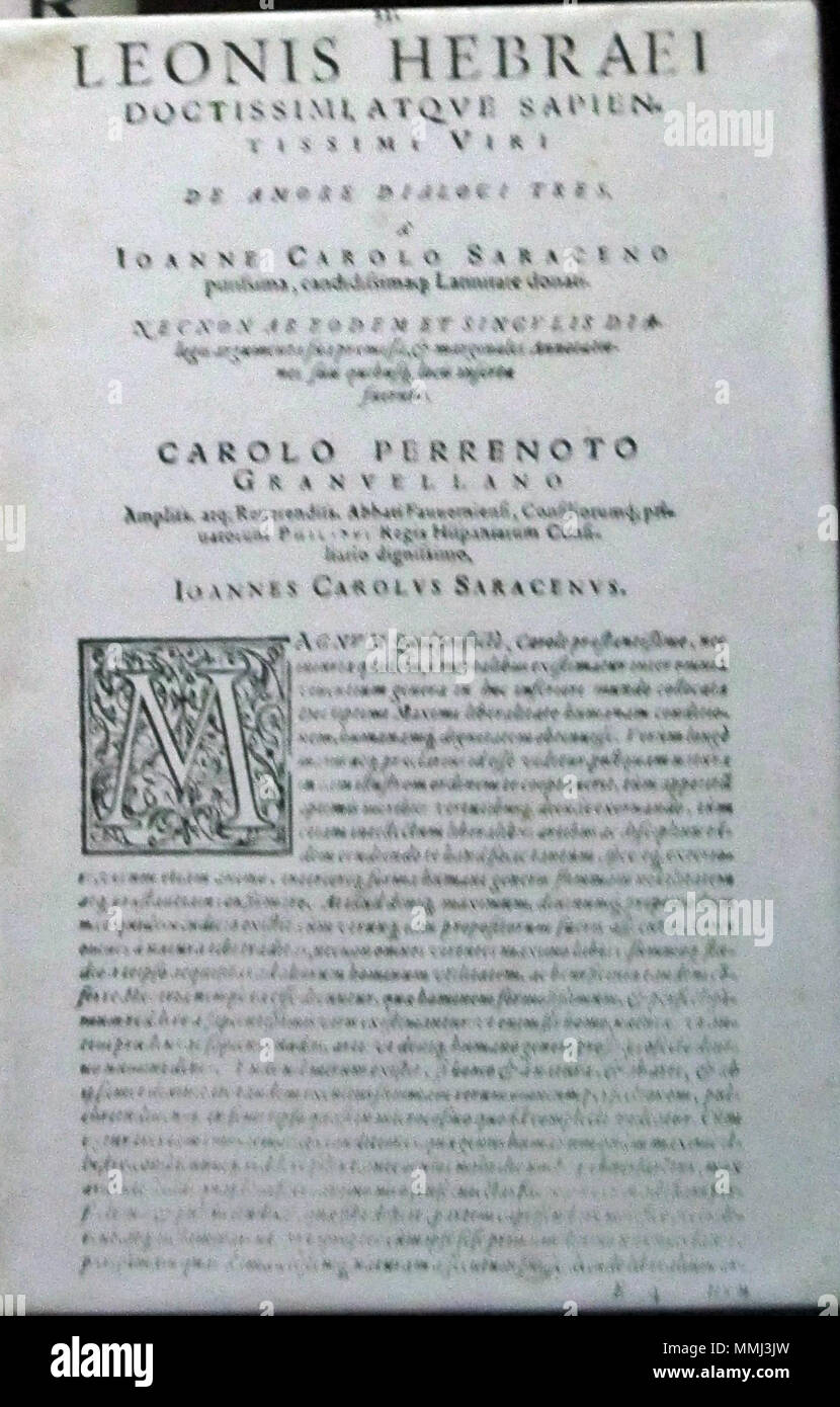 . English: Dialogi de Amore by Judah Abrabanel Leone Ebreo, Basle, 1587  . 8 August 2011. Unknown Dialogi De Amore, Judah Abrabanel Stock Photo