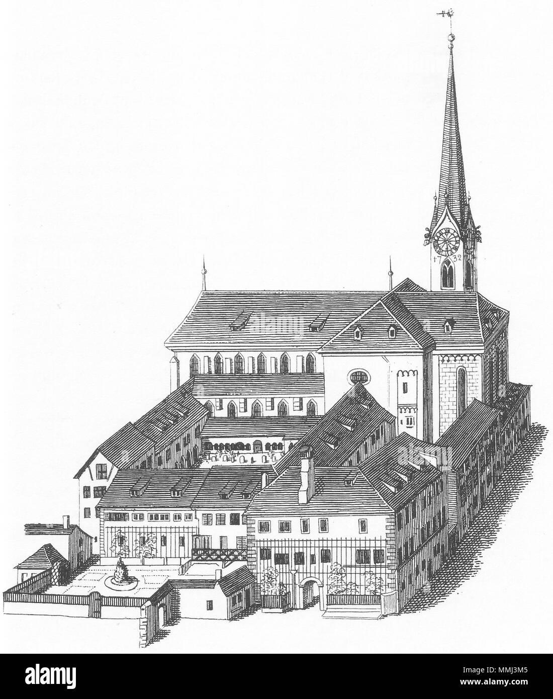 .  Deutsch: Ansicht der Fraumünsterkirche und der Abteigebäude in Zürich um ca. 1750.  The Fraumünsterkirche in Zurich. 1830. Heinrich Keller Abtei und Fraumuenster 1830 - Stock Image