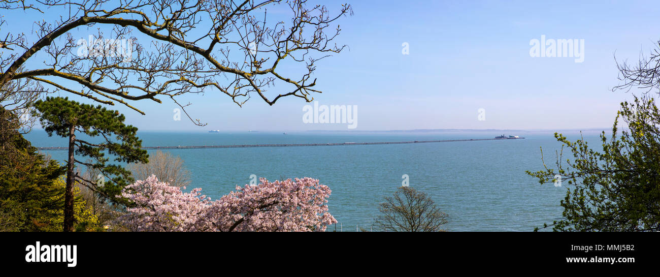 A view of Southend Pleasure Pier - the longest pleasure pier in the world - located on the Thames Estuary in Southend-on-Sea, Essex. - Stock Image