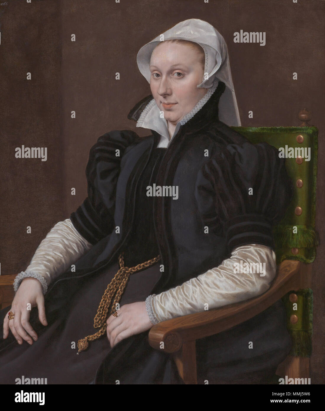 . Portrait of Anne Fernely (d. 1596), since 1544 wife of Sir Thomas Gresham. Pendant of a portrait of her husband (see File:Anthonis Mor 004.jpg).  Anne Fernely (Lady Gresham), de echtgenote van Sir Thomas Gresham Anthonis Mor 005 - Stock Image