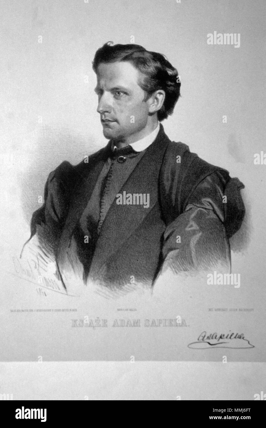 . Deutsch: Adam Fürst Sapieha (1828-1903), polnischer Großgrundbesitzer. Lithographie von Eduard Kaiser, 1861  . 1861. Eduard Kaiser (1820-1895) Adam Sapieha Litho Stock Photo