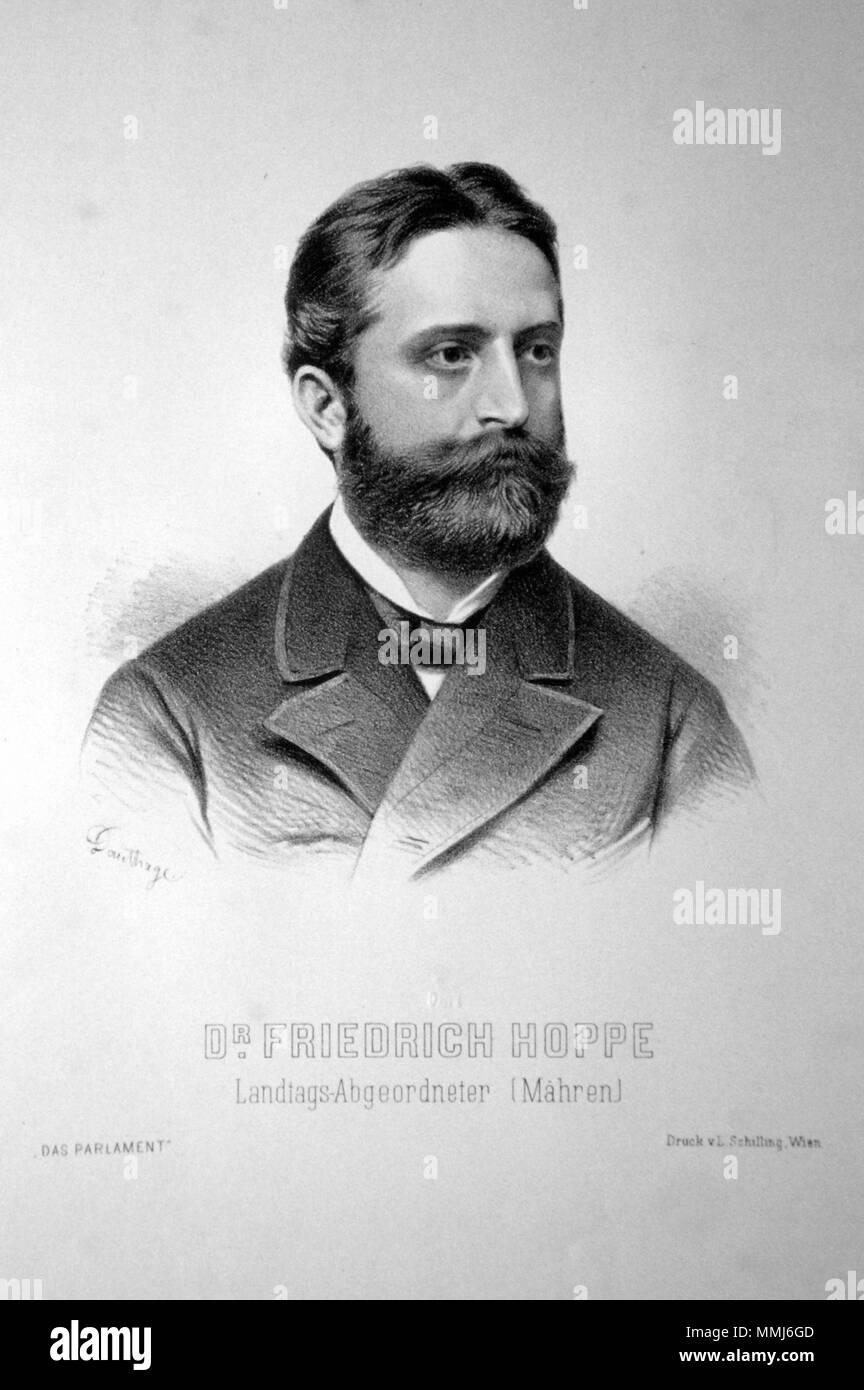 . Deutsch: Dr. Friedrich Hoppe (geb.1838), Jurist, Abgeordneter zum österreichischen Reichsrat für Mähren. Lithographie von Adolf Dauthage, ca.1880  . circa 1880. Adolf Dauthage (1825-1883) Friedrich Hoppe Litho - Stock Image