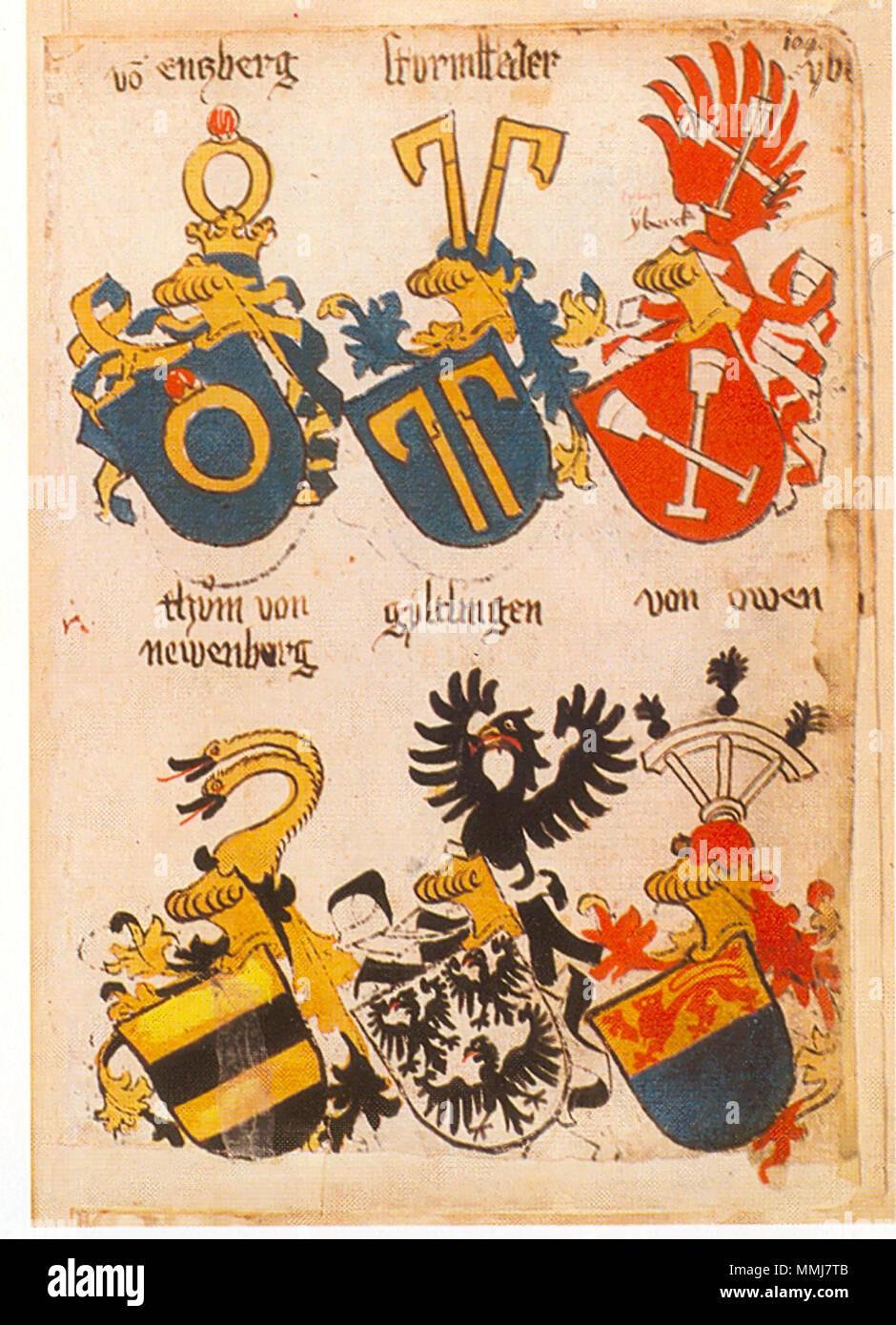 . Ingeram-Codex der ehemaligen Bibliothek Cotta vo(n) Enzberg sturmffeder ybe . ./[yberek] thüm von/newenburg gyltlingen von owen  . 1459. Hans Ingeram and a so called Exempla-master Ingeram Codex 104 - Stock Image