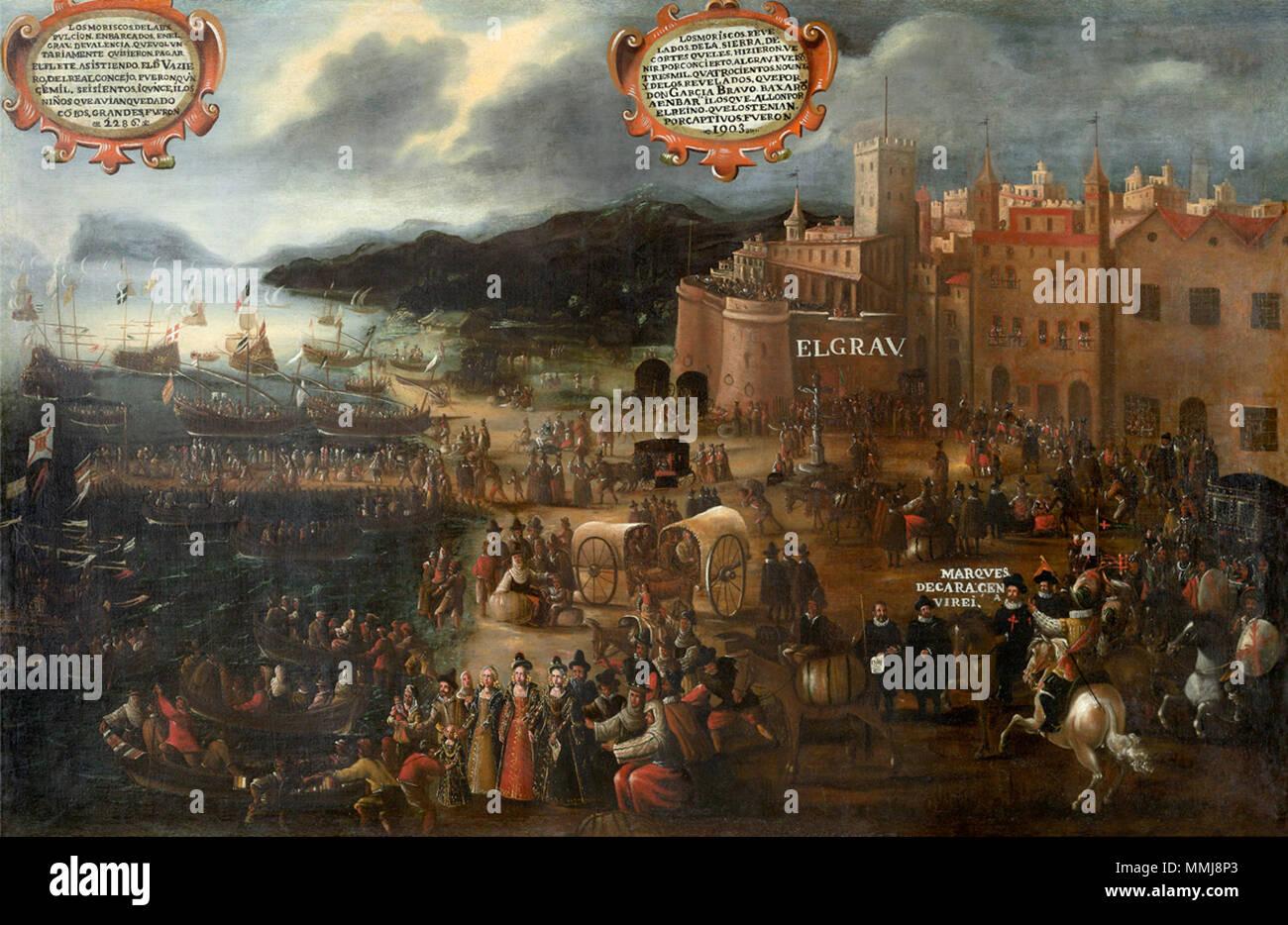 Spanish: Embarco moriscos en el Grao de Valencia.. 1616. Pere Oromig Embarco moriscos en el Grao de valencia Stock Photo
