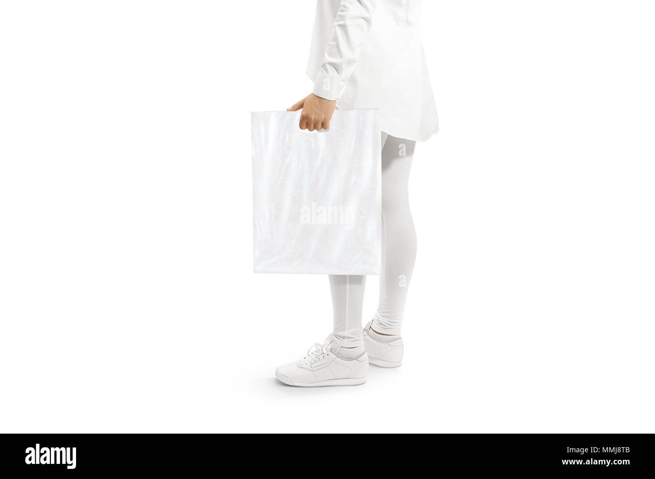 d1c8137d Blank white plastic bag mockup holding hand. Woman hold clear carrier sac mock  up.