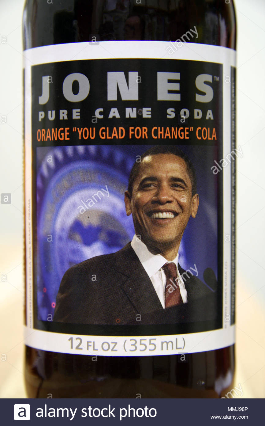 President Barack Obama's picture on a label of 'Jones Cola' celebrating his inauguration. - Stock Image