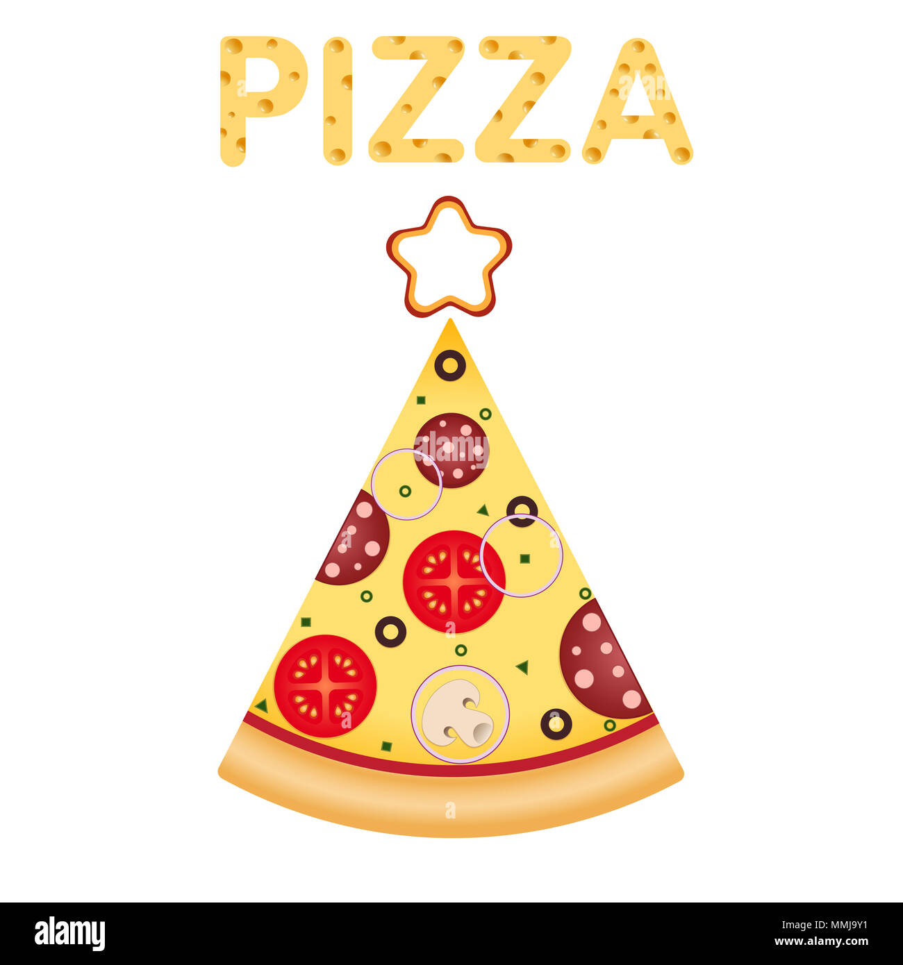 pizza pizza slice in tree shape with star on top christmas and new year pizza food delivery the word pizza with a cheesy texture illustration for - Pizza Delivery On Christmas Day