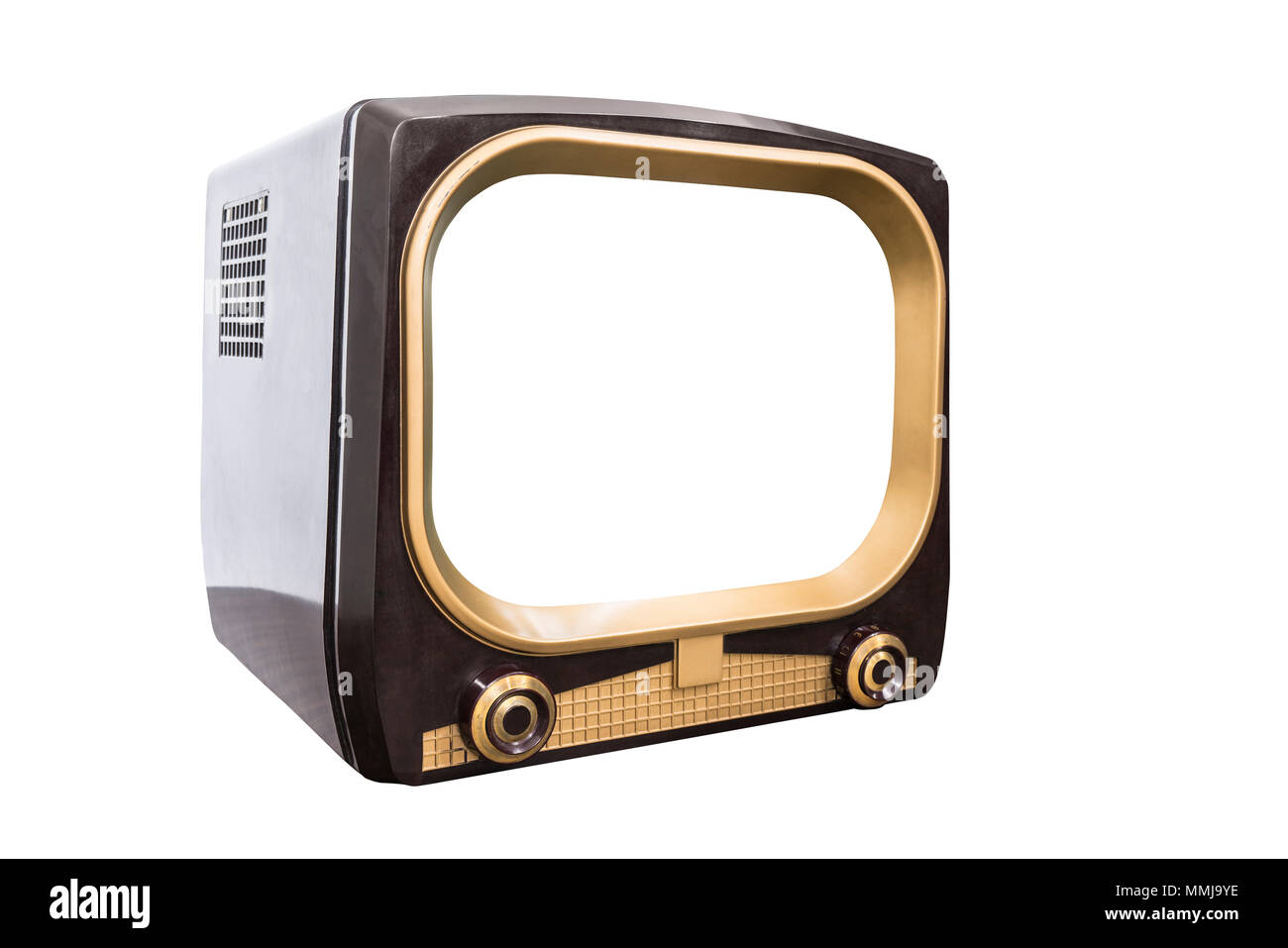 Retro 1950s television isolated on white with cut out screen and clipping path. - Stock Image
