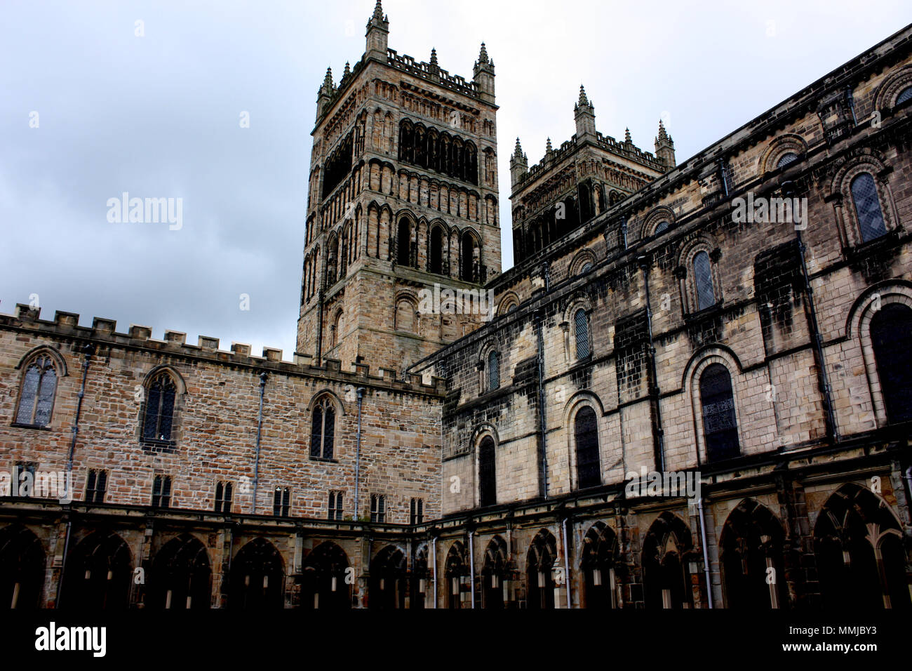 A view of Durham Cathedral taken from the cloisters at 5pm Stock Photo