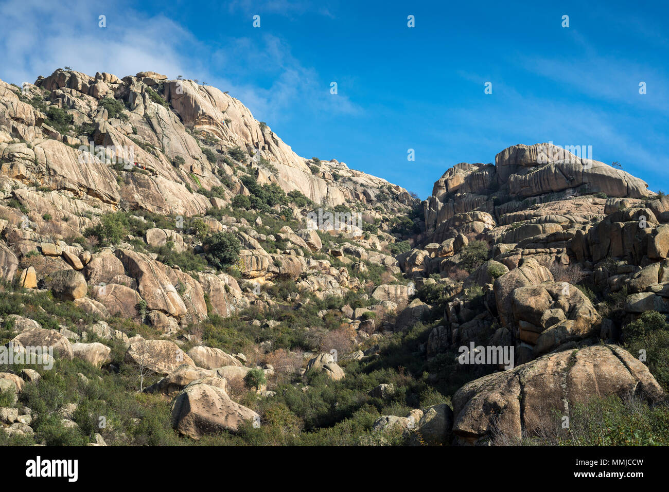 Granitic rock formations in La Pedriza, Guadarrama Mountains National Park, province of Madrid, Spain Stock Photo