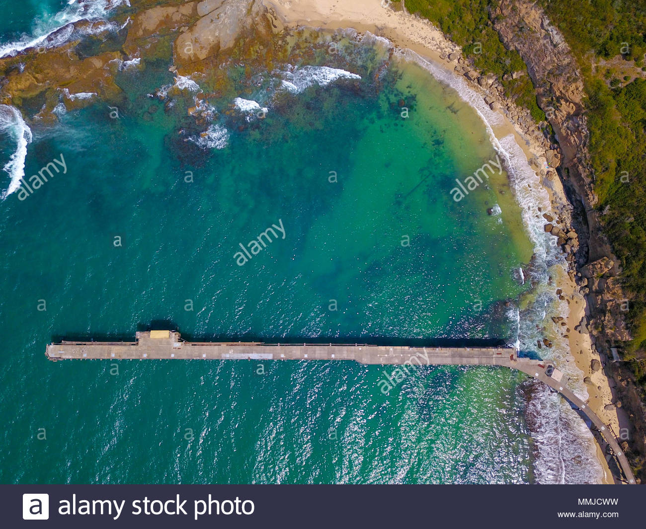 Aerial view of the historic coal loader jettry at Catherine Hill Bay, New South Wales, Australia - Stock Image