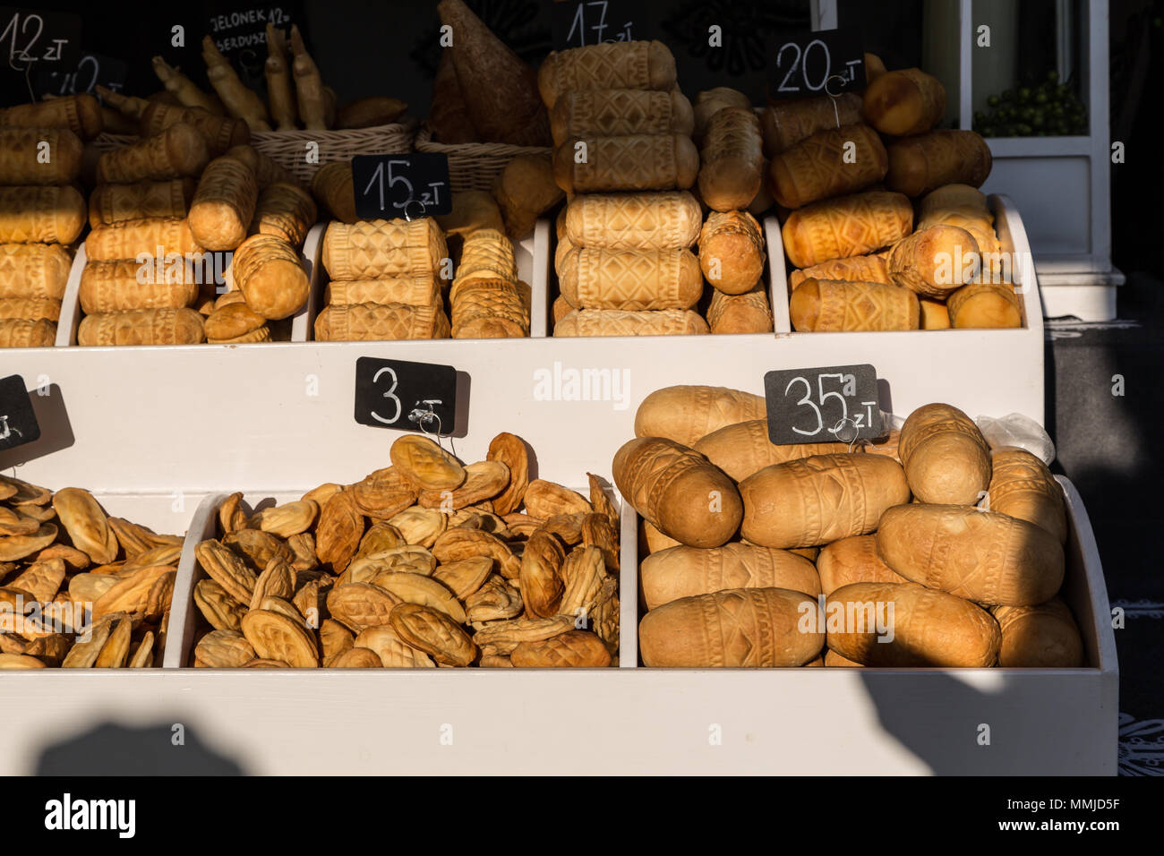 Oscypek, the traditional Polish cheese, Krakow, Poland - Stock Image