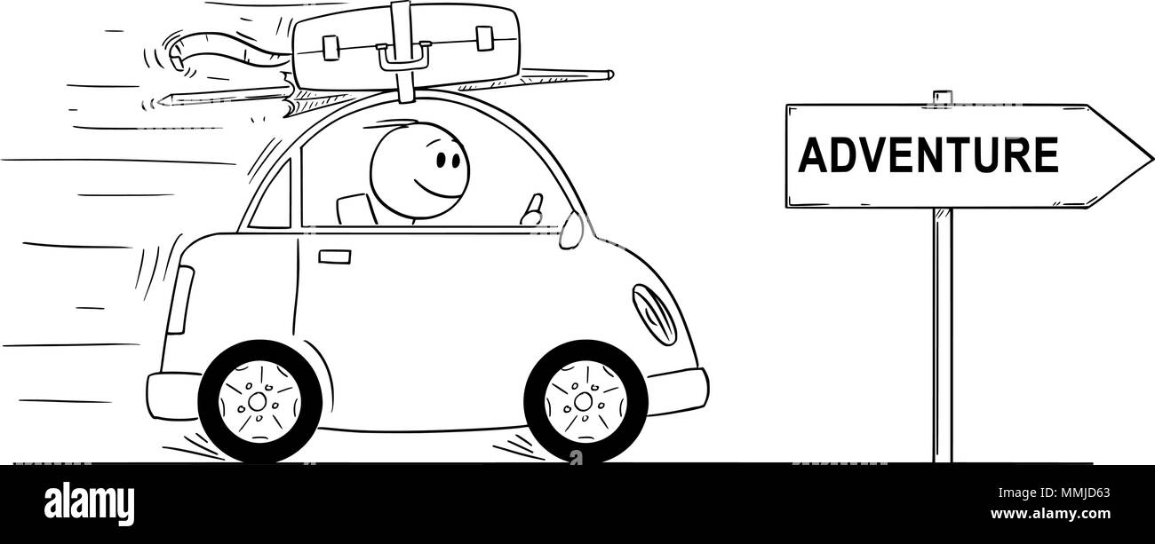 Cartoon Of Smiling Man Going In Small Car On Holiday Or Vacation Arrow Sign With Adventure Text