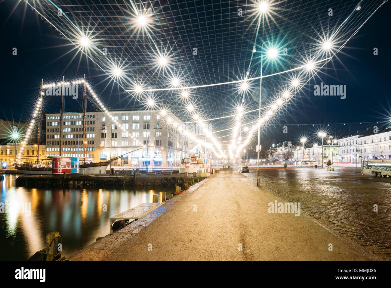 Helsinki, Finland. Evening Night Festive Christmas Xmas New Year Illuminations On Market Square. - Stock Image