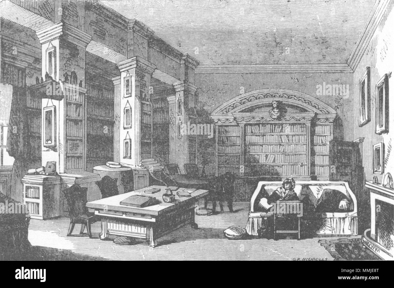 IRELAND. Library Maria Edgeworth wrote 1888 old antique vintage print picture - Stock Image