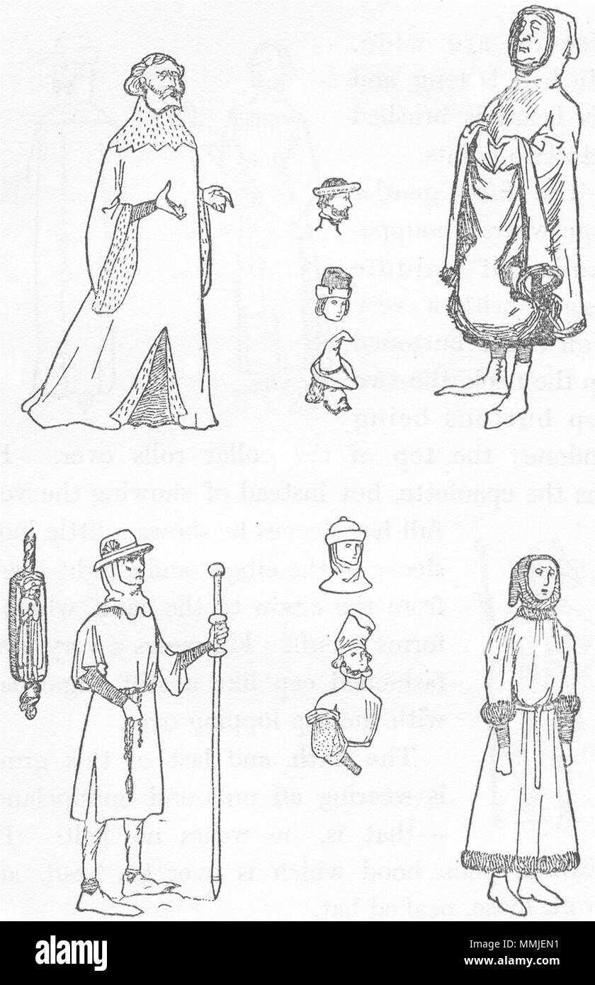 ENGLAND. Costumes of reign Henry IV 1926 old vintage print picture - Stock Image