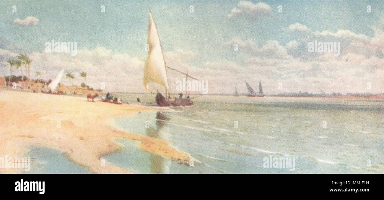 EGYPT. A Breezy day at Ayat 1912 old antique vintage print picture - Stock Image