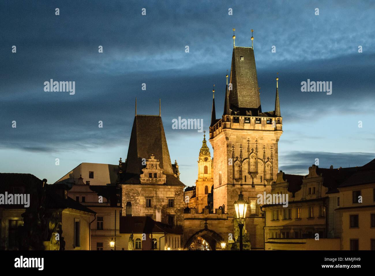Prague Towers after Sunset - Stock Image