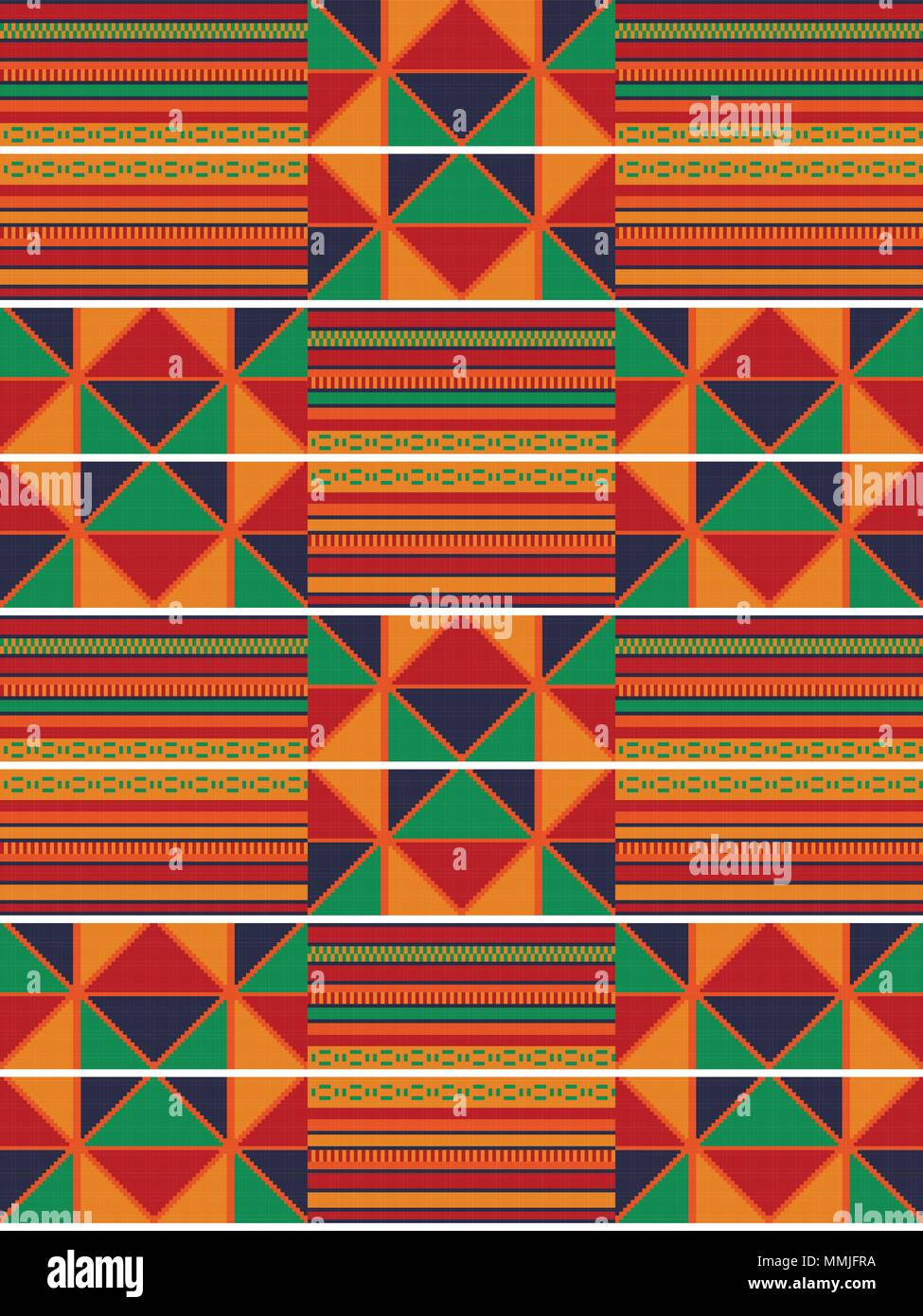 Ethnic seamless pattern. Cloth Kente. Traditional ornament of Ghana. - Stock Vector