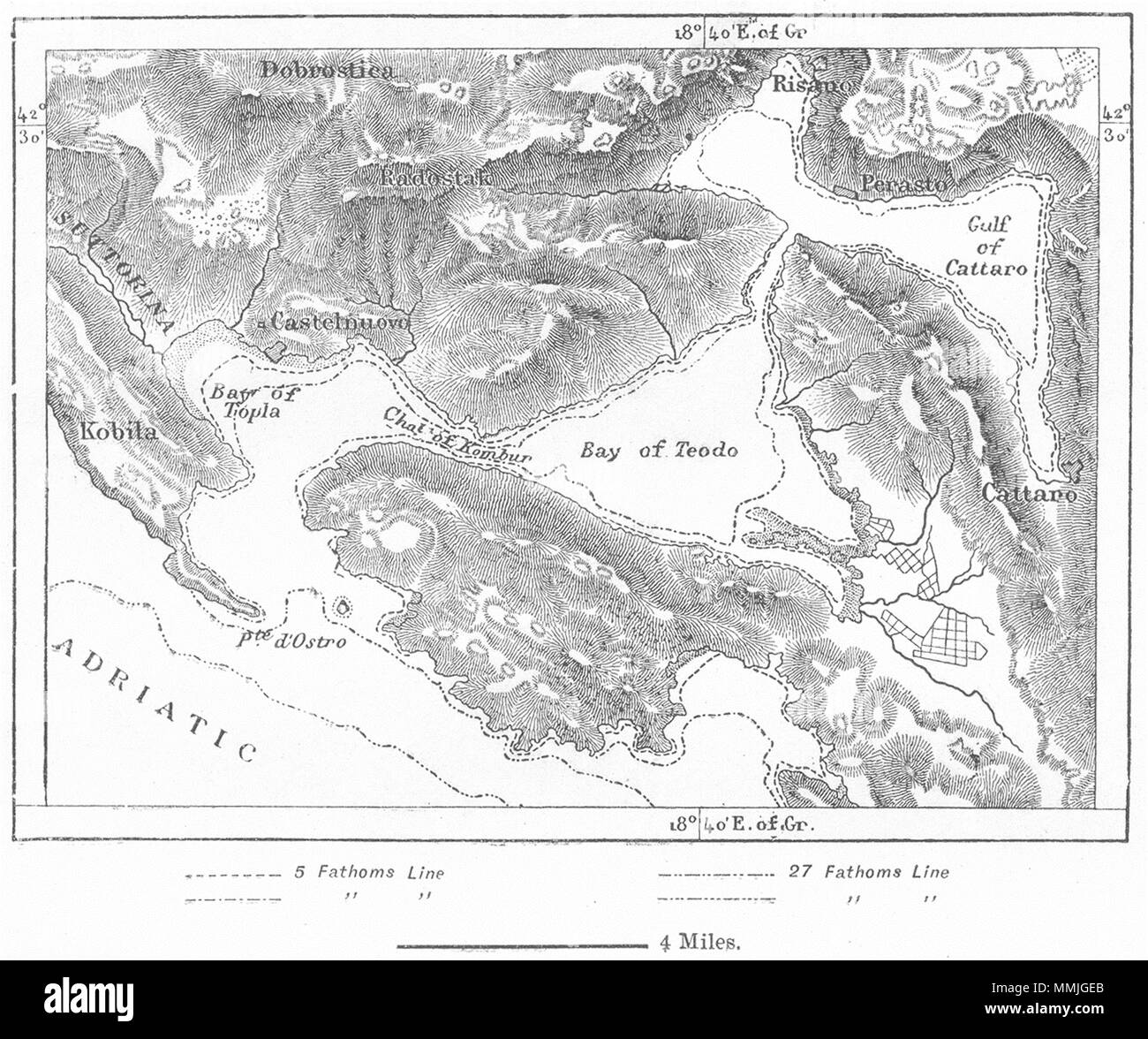 MONTENEGRO. Kotor Bay, sketch map c1885 old antique vintage plan chart - Stock Image