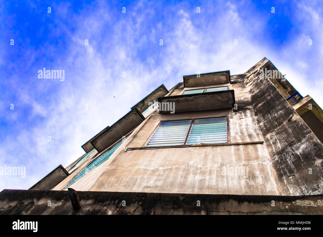 Vintage cityscape.Blue sky and clound on building and house. - Stock Image