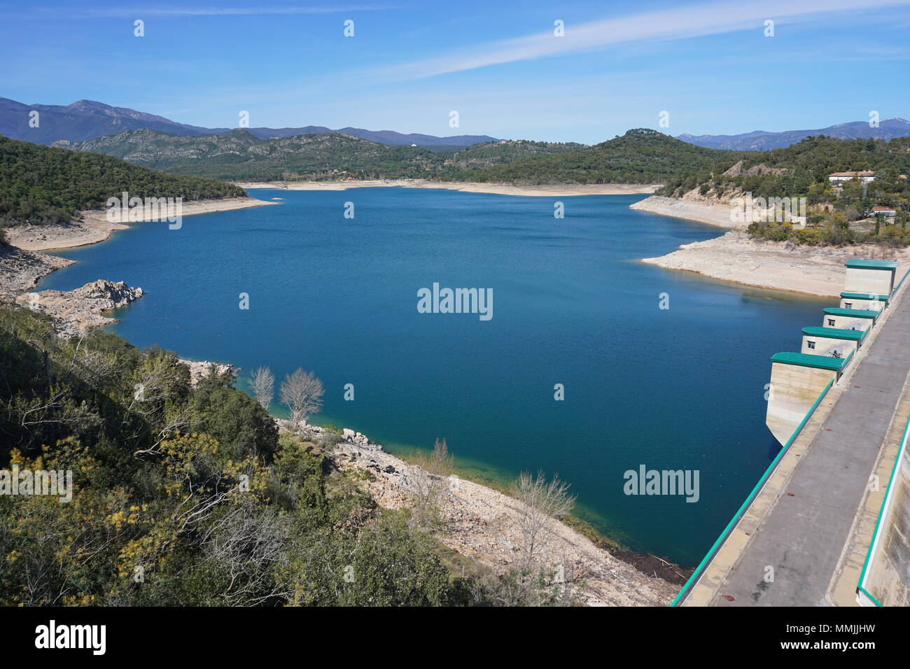 The reservoir and dam of Darnius Boadella in the Province of Girona, Alt Emporda, Catalonia, Spain Stock Photo