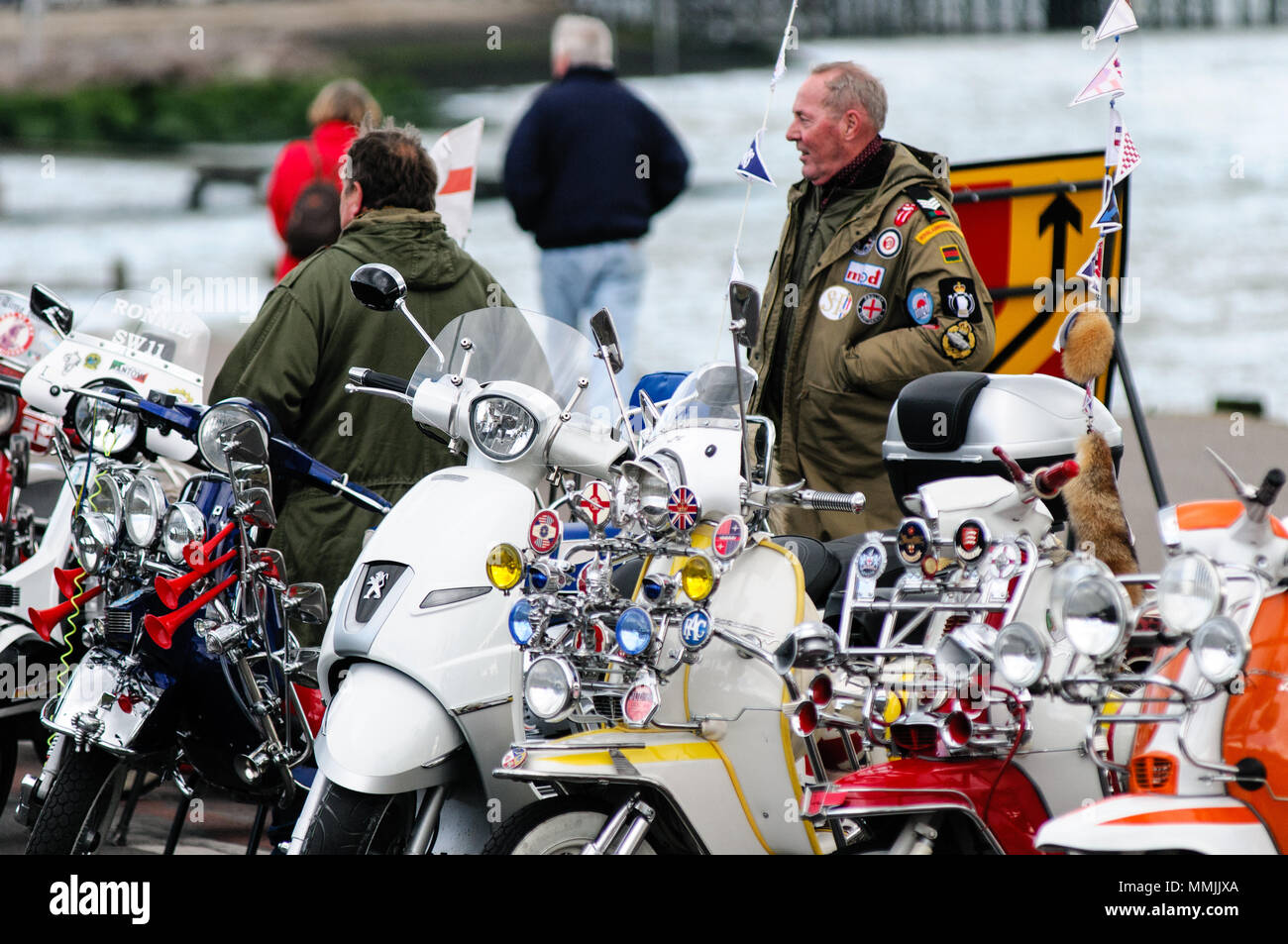 Southend, England - 17 April 2017. Scooter enthusiasts display their mod style scooters. - Stock Image