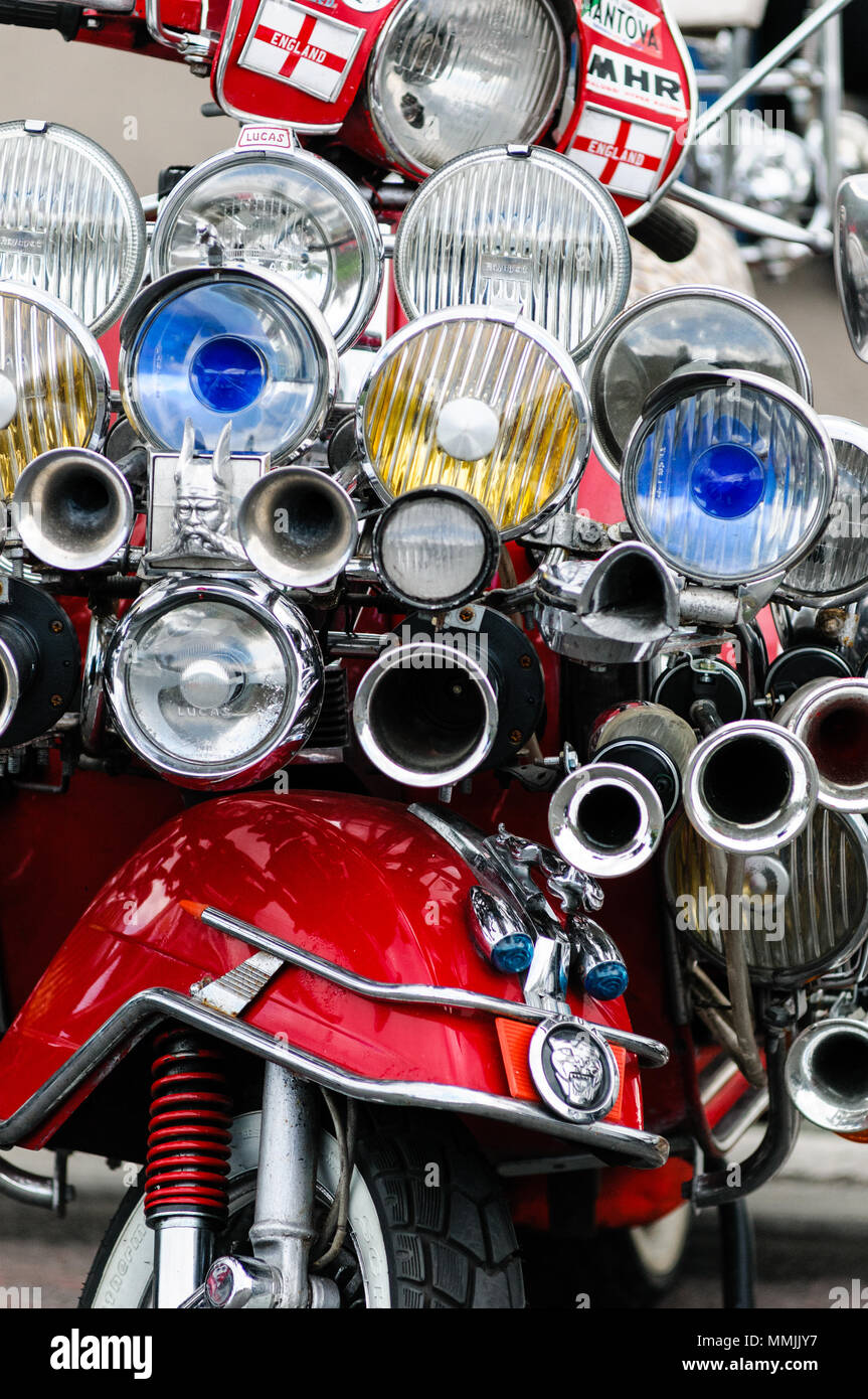 Southend, England - 17 April 2017: Highly modded scooters on display at the annual shakedown event, Southend, England. - Stock Image