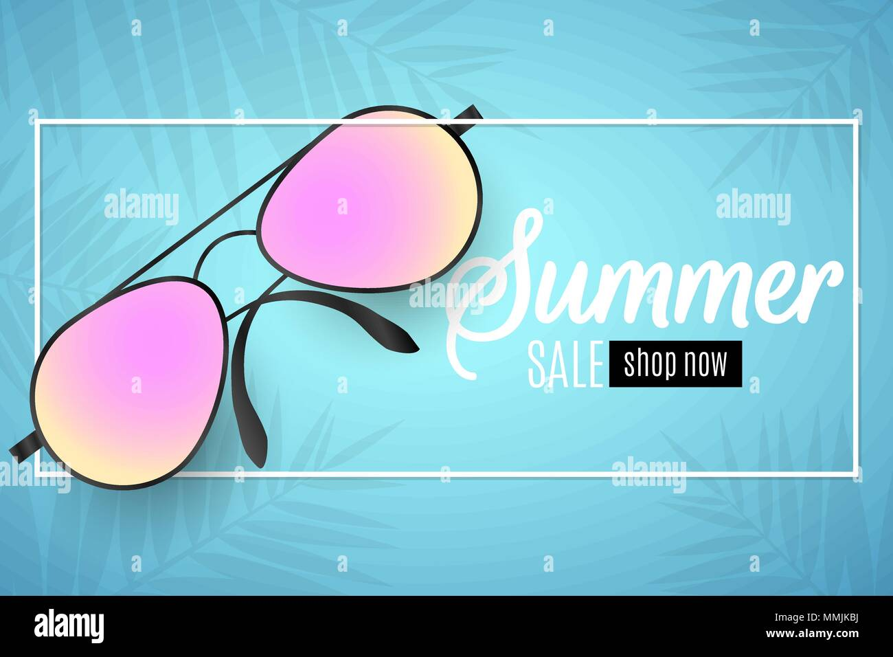 4574355f19ac Advertising web banner for summer sale. Beach sunglasses in a white frame  on a blue background. Glare bokeh. Leaves of a palm tree. Special offer. Vec