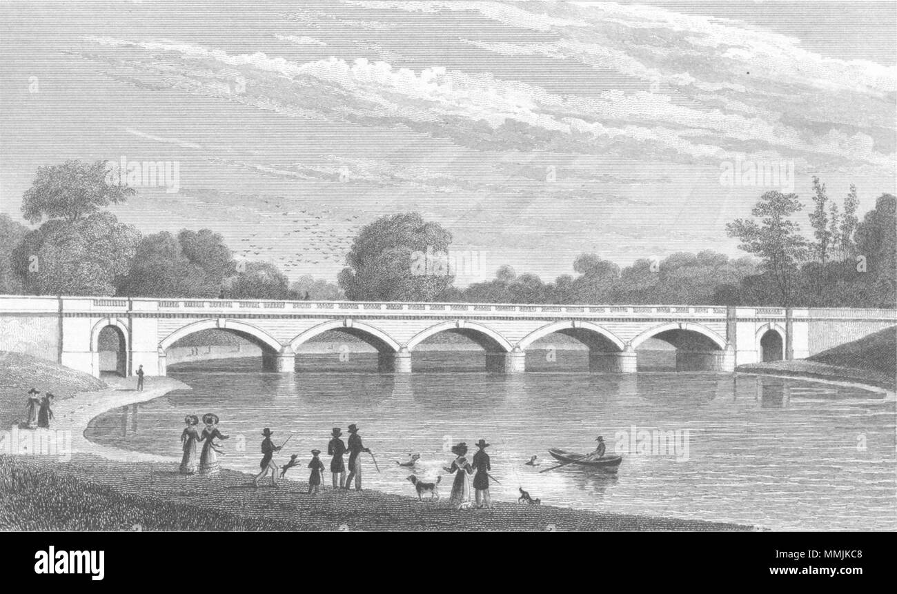 LONDON. New bridge, Serpentine, Hyde Park 1827 old antique print picture - Stock Image
