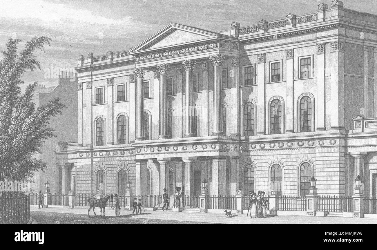 LONDON. Inst, Finsbury Circus 1827 old antique vintage print picture - Stock Image