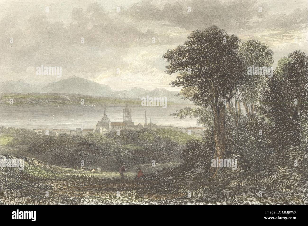 SWITZERLAND. Lausanne. Swiss. Fielding-Finden 1832 old antique print picture - Stock Image