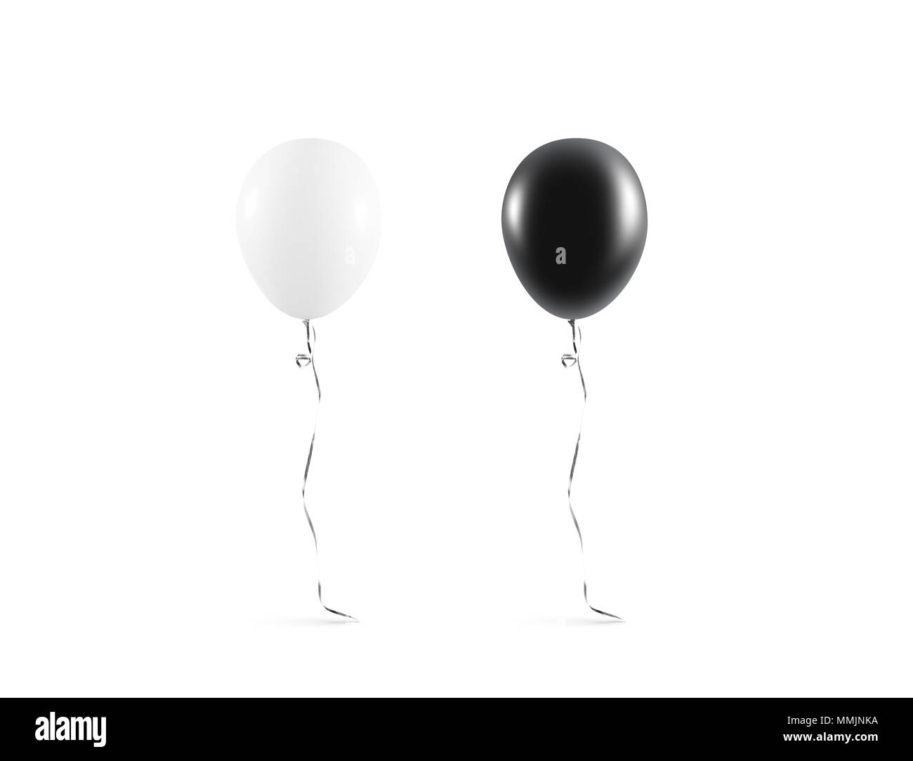 Blank black and white balloon mock up isolated. Clear white balloon art design mockup. Clean pure baloon template. Logo, texture, pattern presentation on plain aerostat design element. - Stock Image
