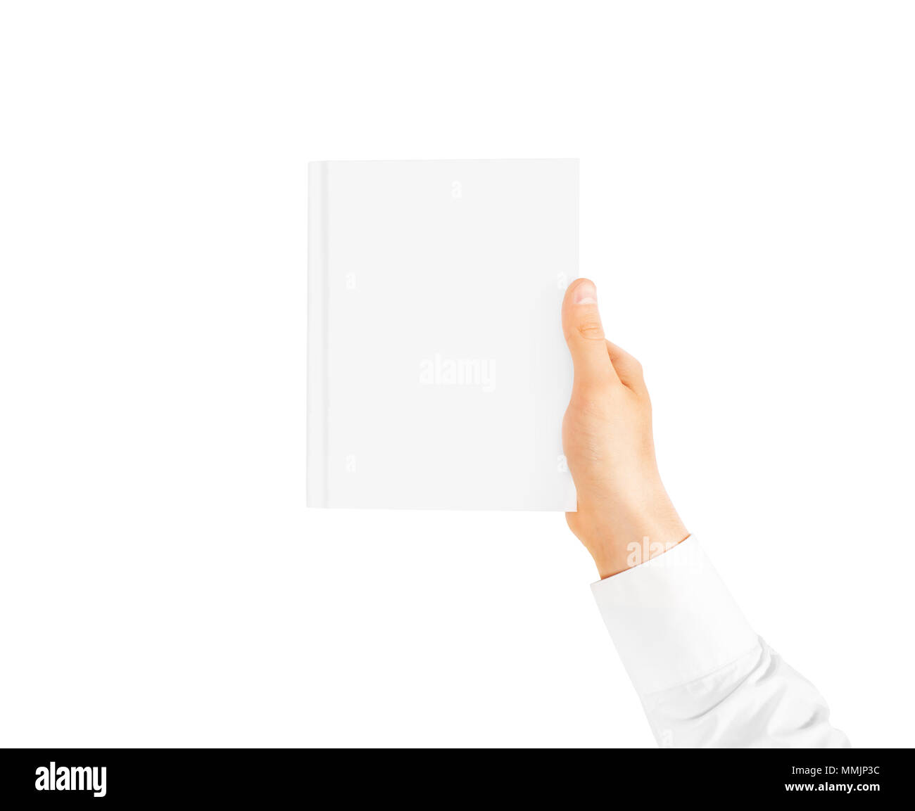 Hand In White Shirt Sleeve Holding Closed Blank Book Cover Mockup In