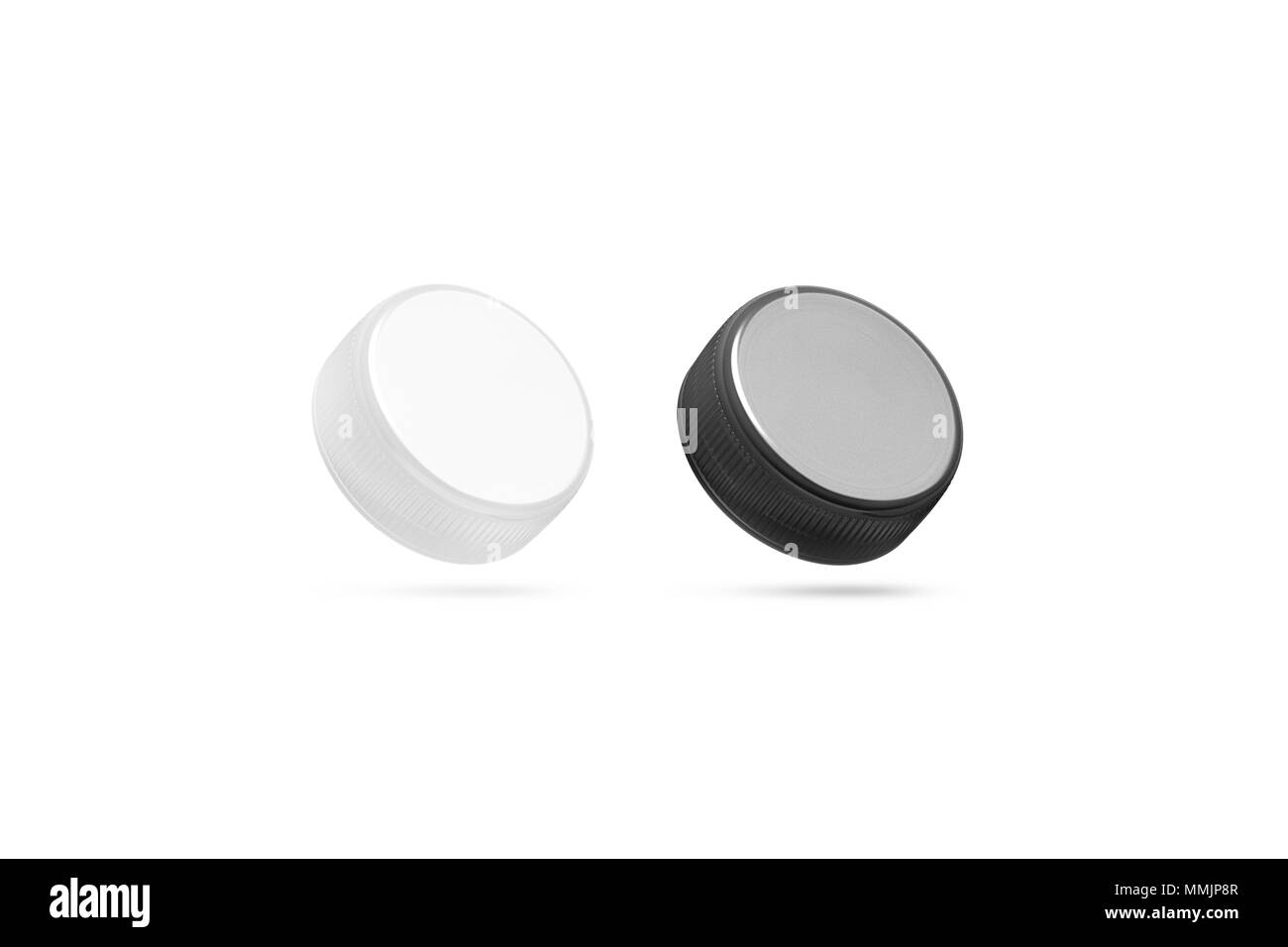 Blank plastic bottle caps mock up set isolated black and white 3d blank plastic bottle caps mock up set isolated black and white 3d rendering empty mineral water lids mockups side view fizzy pop circle clear cover maxwellsz