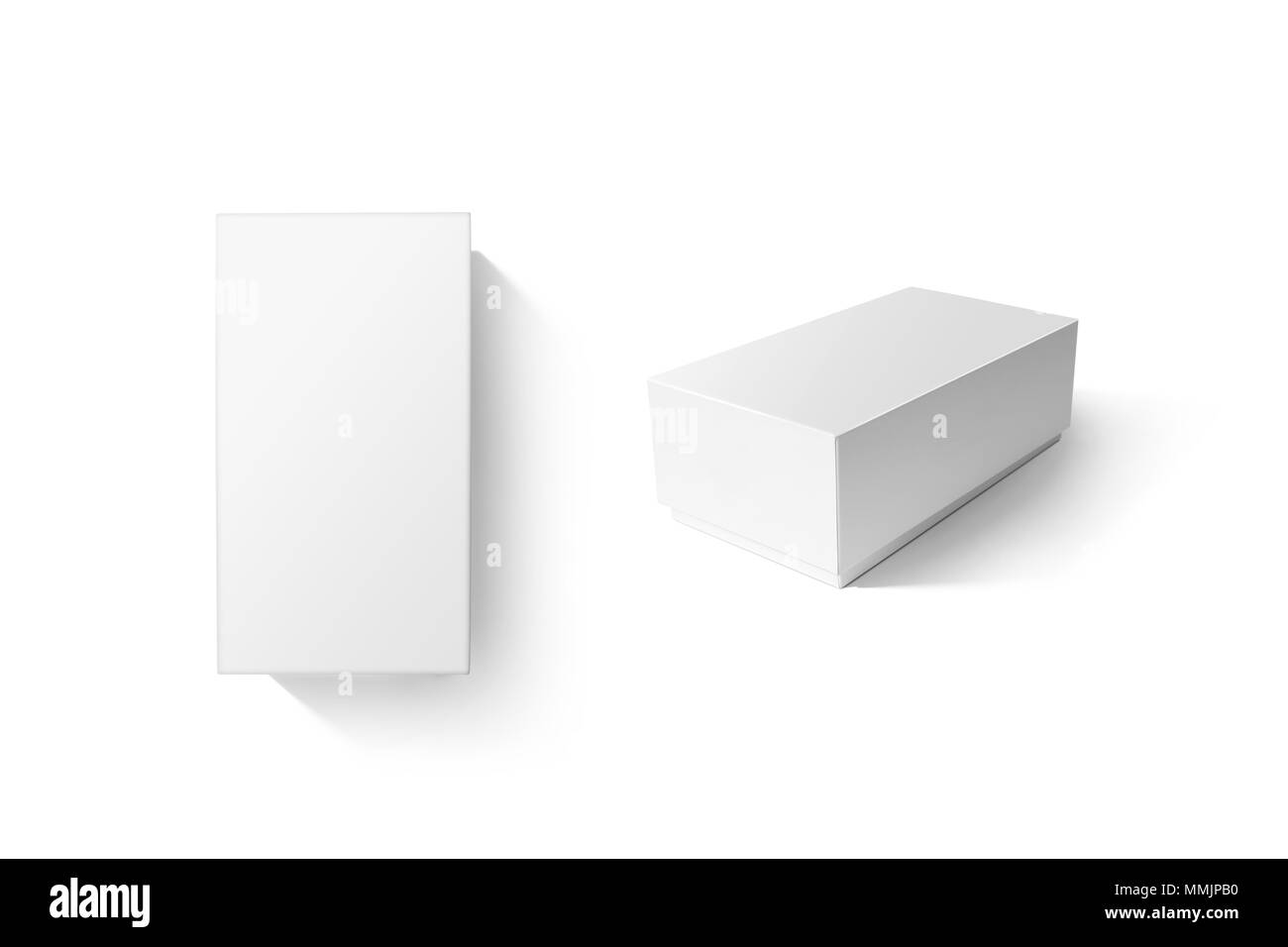 white carton product box set mockup top side view clipping path