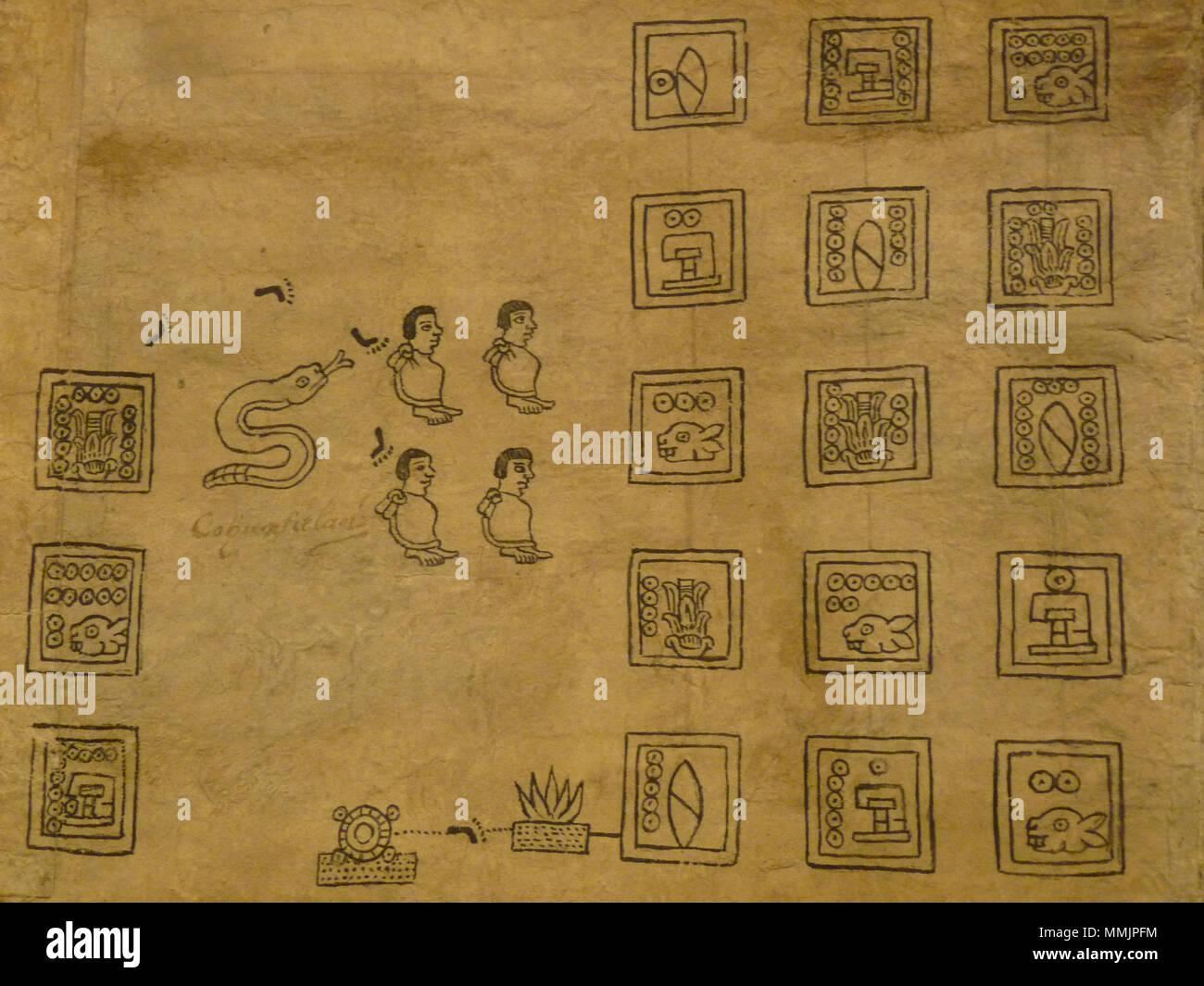 . Codex Boturini (also known as Tira de la peregrinación), folio 13  . First half of 16th century. Unknown (codex) - El Comandante (photographer) 94 Boturini Codex (folio 13) - Stock Image