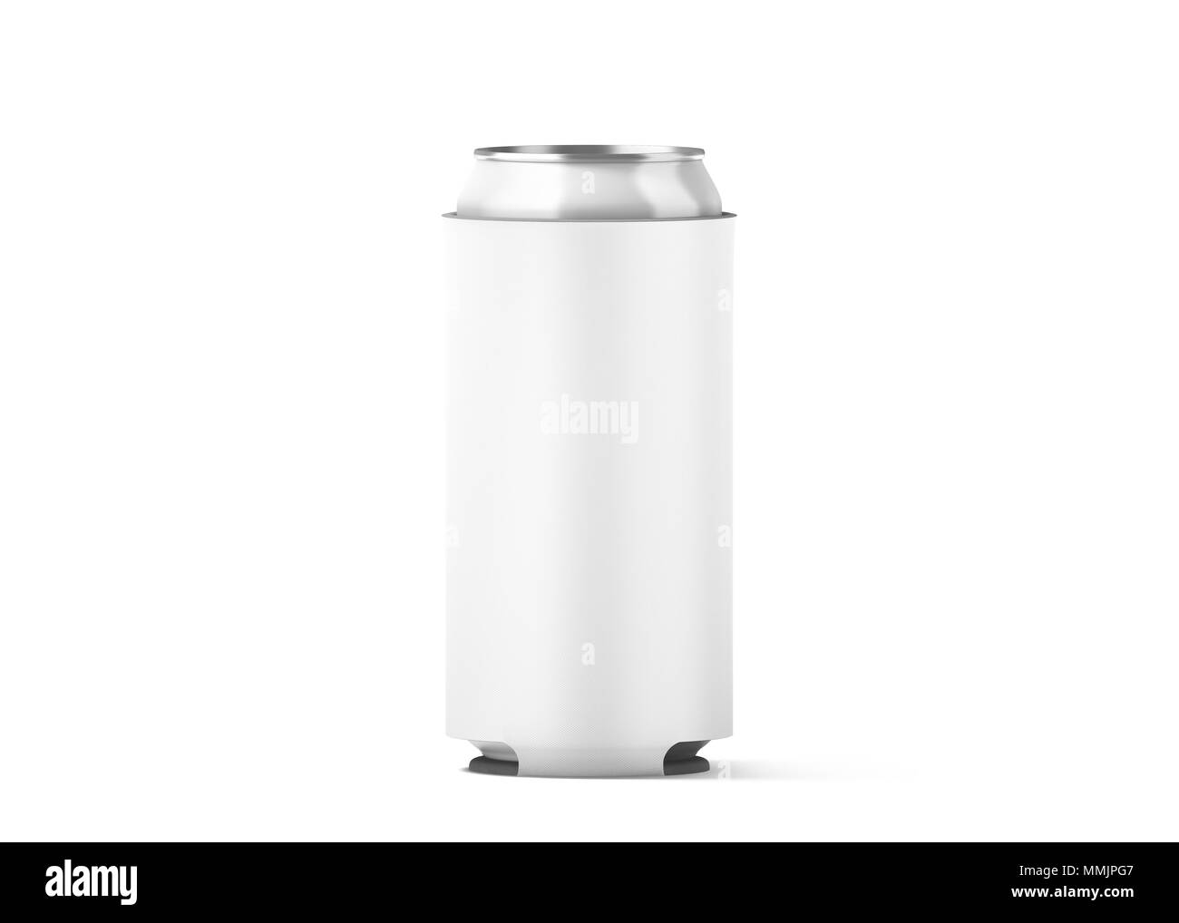 blank white collapsible beer can koozie mock up isolated for 500 ml
