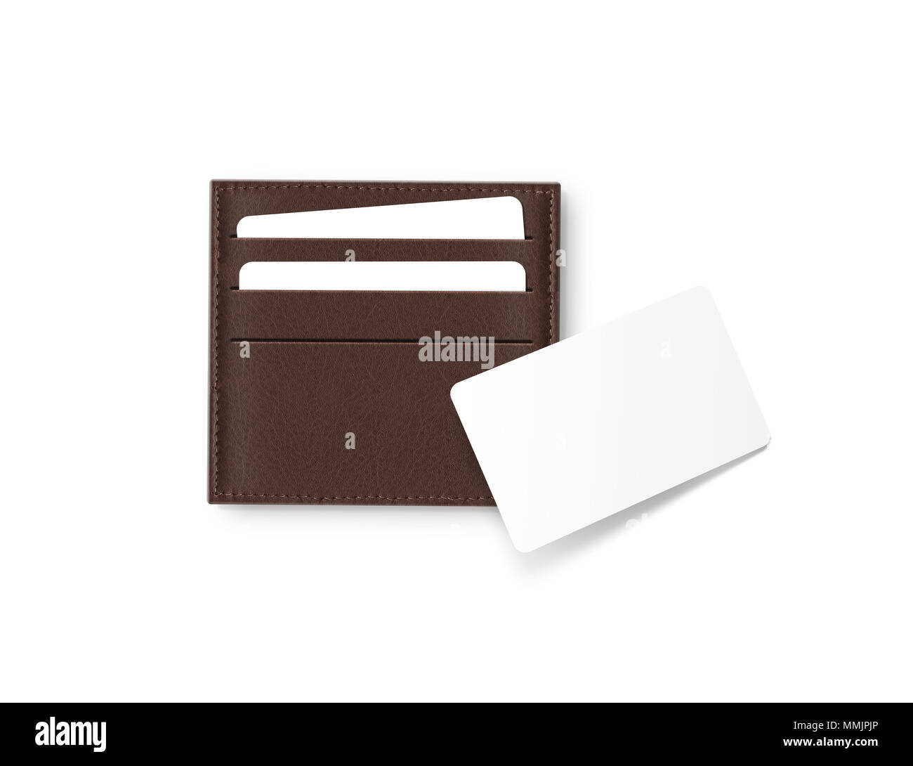 Brown leather card holder with blank white card mock up isolated ...
