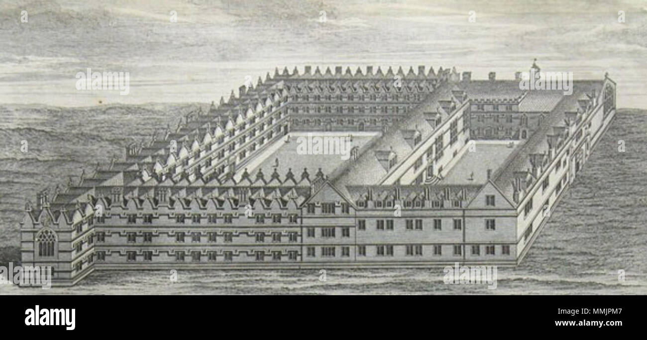 . English: An illustration of Jesus College, Oxford from 'The Oxford Almanack for the Year of Our Lord God, MDCCXL'  . 1740. George Vertue Engraving Jesus College 1740 - Stock Image