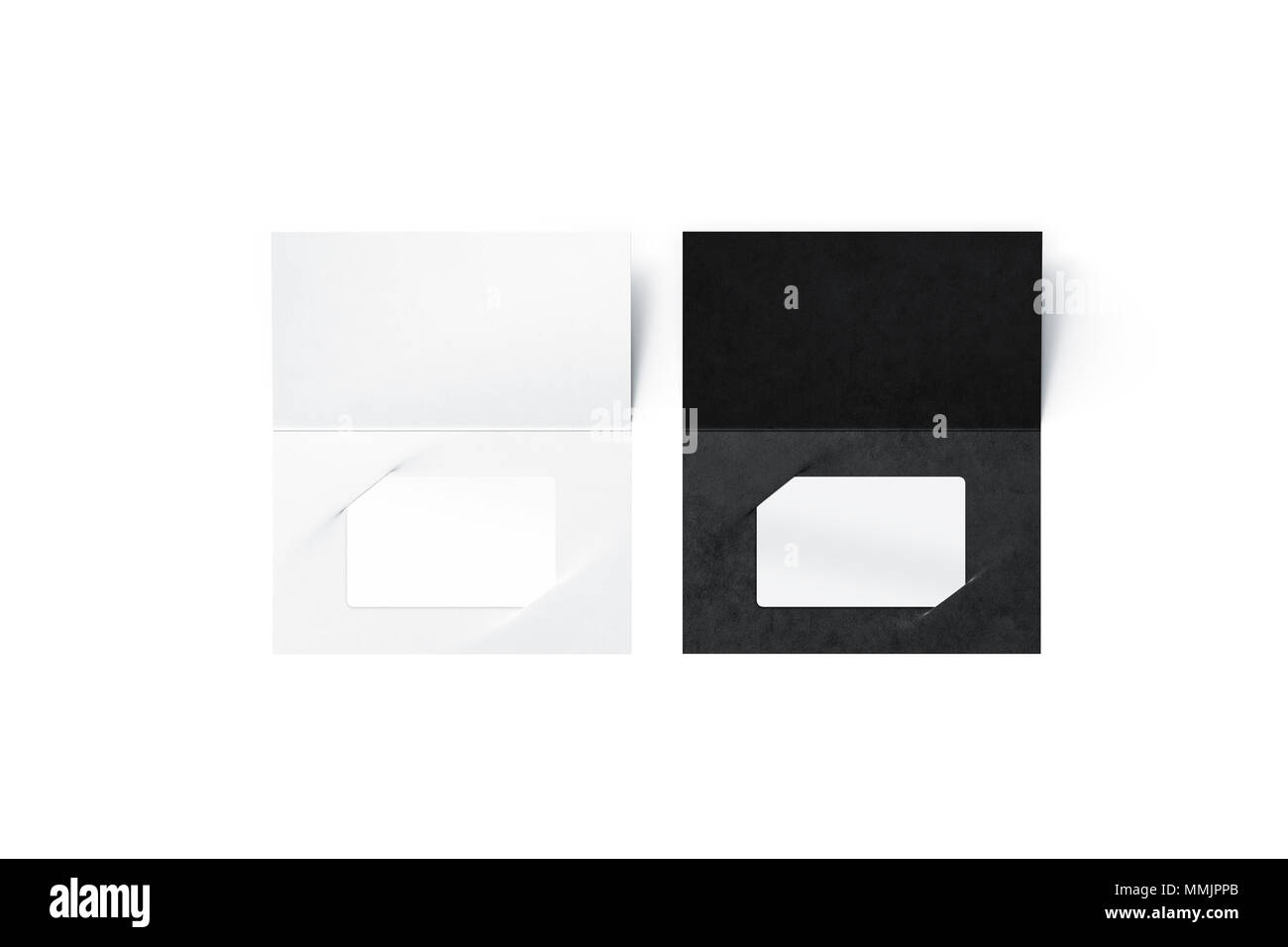 Blank White Plastic Card Mock Up Inside Black And Clear Paper - Booklet envelope template