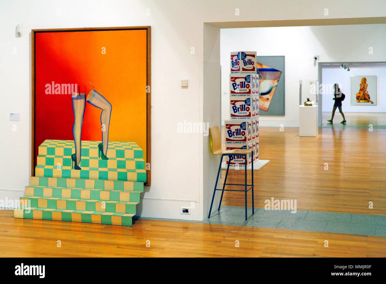 La Sheer (left) by Allen Jones & Brillo Soap Pads Boxes by Andy Warhol, Museu Colecção Berardo / Berardo Collection Museum, Belém, Lisbon, Portugal - Stock Image