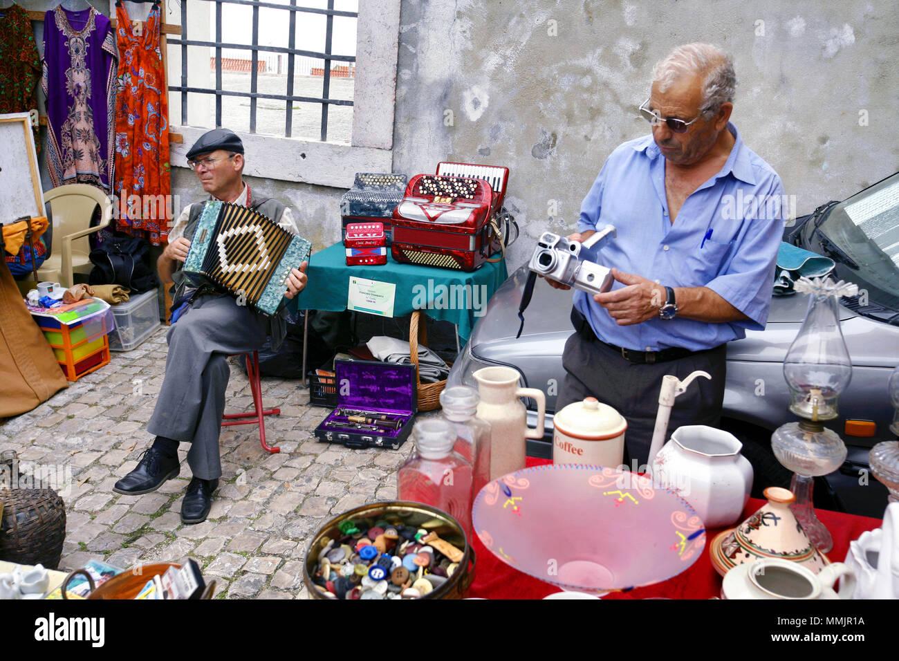Feira da Ladra / Thieves flea market, Lisbon, Portugal - Stock Image