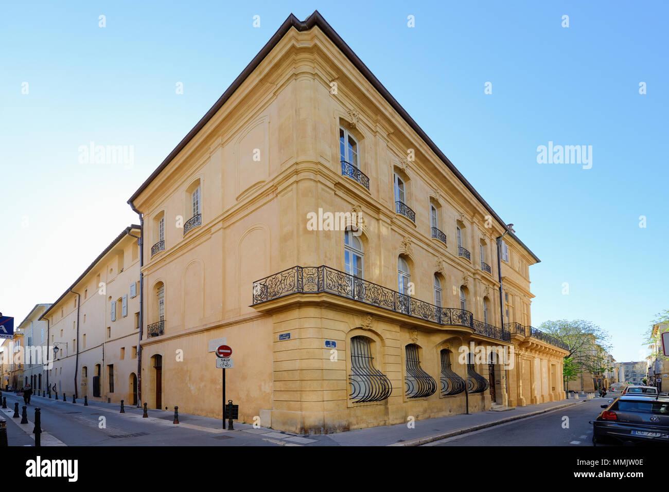 Hôtel Villeneuve d'Ansouis (c18th) Townhouse, Mansion or Hôtel Particulier in the Mazarin District Aix-en-Provence Provence France - Stock Image