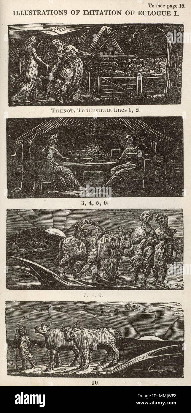 . English: Blake woodcut The Pastorals of Virgil, copy 1, object 10 Illustrations of Imitation of Eclogue I  . 21 January 2010, 07:21:35.   William Blake (1757–1827)   Alternative names W. Blake; Uil'iam Bleik  Description British painter, poet, writer, theologian, collector and engraver  Date of birth/death 28 November 1757 12 August 1827  Location of birth/death Broadwick Street Charing Cross  Work location London  Authority control  : Q41513 VIAF:?54144439 ISNI:?0000 0001 2096 135X ULAN:?500012489 LCCN:?n78095331 NLA:?35019221 WorldCat     This is a faithful photographic reproduction o - Stock Image
