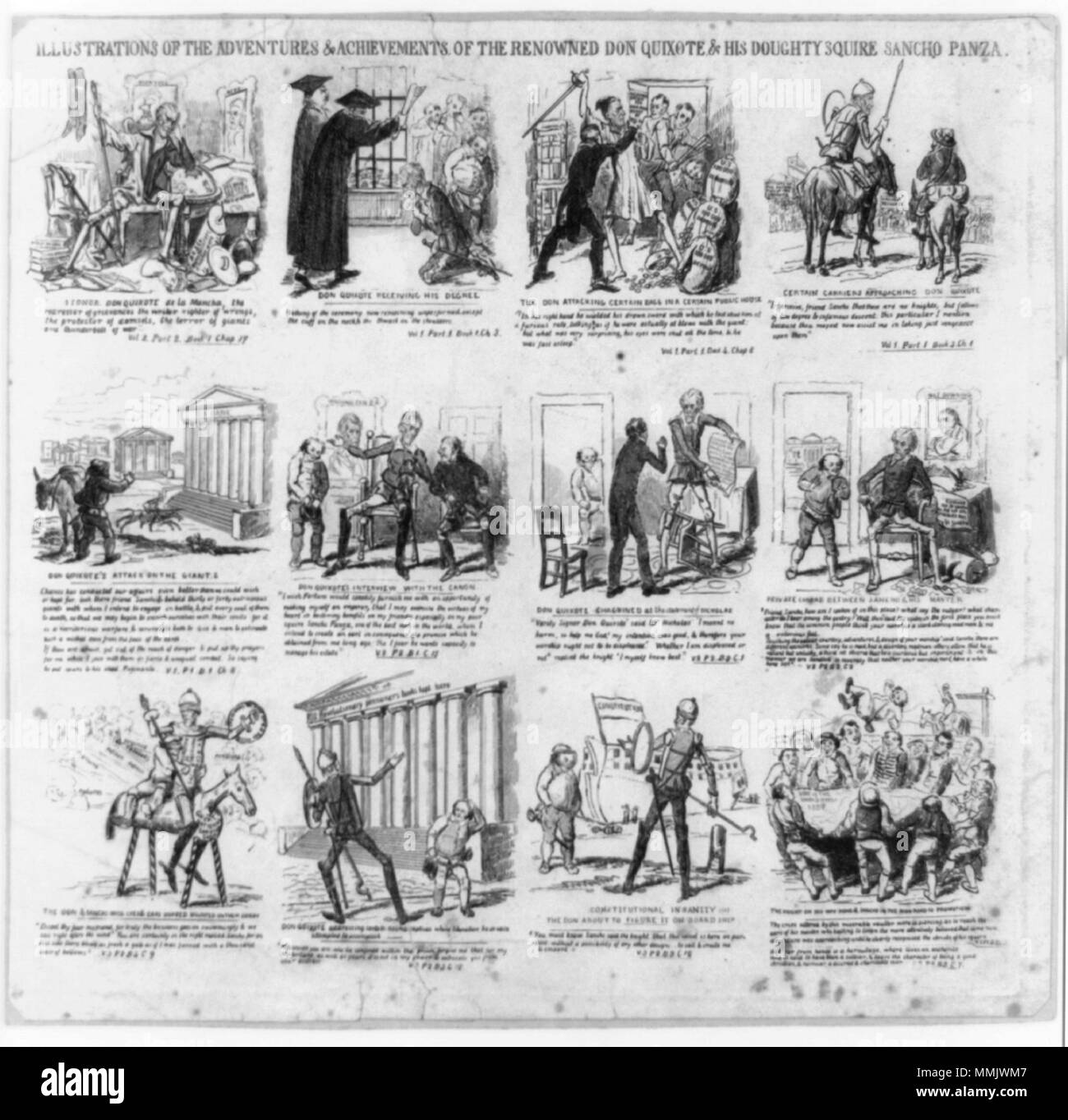 . Illustrations of the adventures of the renowned Don Quixote & his doughty squire Sancho Panza. Engraving. By D.C. Johnston.  . 1837.   David Claypoole Johnston (1798–1865)   Alternative names David Claypool Johnston  Description American cartoonist, printmaker, painter and actor  Date of birth/death 25 March 1799 8 November 1865  Location of birth/death Philadelphia Dorchester, MA  Work location Boston  Authority control  : Q5232408 VIAF:?57684331 ISNI:?0000 0001 1650 1297 ULAN:?500031218 LCCN:?n50040318 GND:?129153508 WorldCat 1837 DonQuixote byDClaypooleJohnston LibraryOfCongress - Stock Image