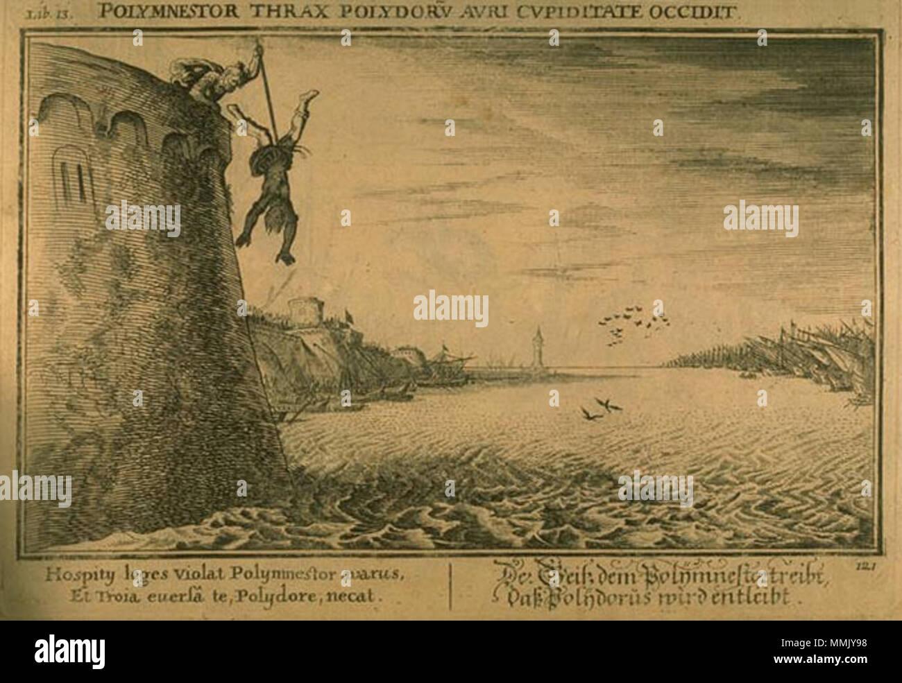 English Polymnestor Kills Polydorus Engraving De Bauer For